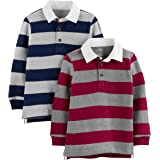 Simple Joys by Carter's paquete de 2 camisetas a rayas de rugby de manga larga para niños pequeños