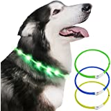 Light up Dog Collar, USB Rechargeable Light Up Pet Safety Collar with 3 Glowing Modes, Flexible Silicone Dog Collar Great for Small Medium Large Dogs (Green)