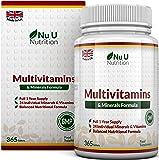 Multivitamins & Minerals Formula | 24 Vitamines et Minéraux | Végétarien | Homme/Femme | Cure d'1 An/365 Comprimés | Compléments alimentaires de Nu U Nutrition