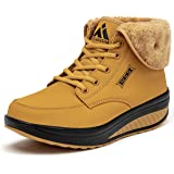SAGUARO® Invierno Mujer Botas de Nieve Cuero Calientes Fur Botines Plataforma Bota Boots Ocasional Impermeable Anti Deslizant