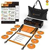 Échelle de Rythme 6 Mètres - Plots Entrainement Football Kit - 8 Cones de Sport - Equipement pour Agilité, Fitness…