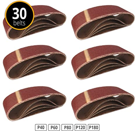 Lot de 10 bandes abrasives en tissu pour ponceuse /à bande 75 x 457 mm K180