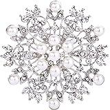 EVER FAITH Damen Kristall Cream kuenstliche Perle Winter Schneeflocke Blume Brosche Klar Silber-Ton