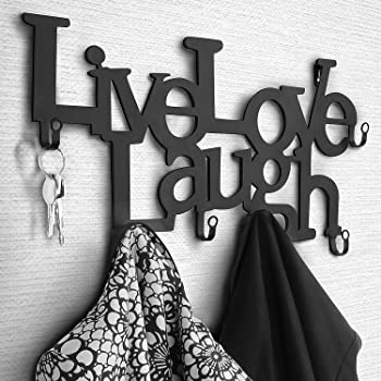 Appendiabiti con 6 Ganci da Parete in Metallo | 48 x 23 x 3 cm Live, Love, Laugh | Appendiabiti da Muro, Appendini per Abbigliamento, Pannello Appendi