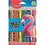 Maped - Crayons de Couleur Color'Peps Animals FSC - Crayon de Coloriage Triangulaire Ergonomique - Crayons Décorés Animaux -