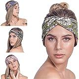 Osattia 4 Stück Damen Boho Stirnband Elastisches Haarband Böhmisches Blume Gedruckt Stirnbänder Knoten Verdrehtes…