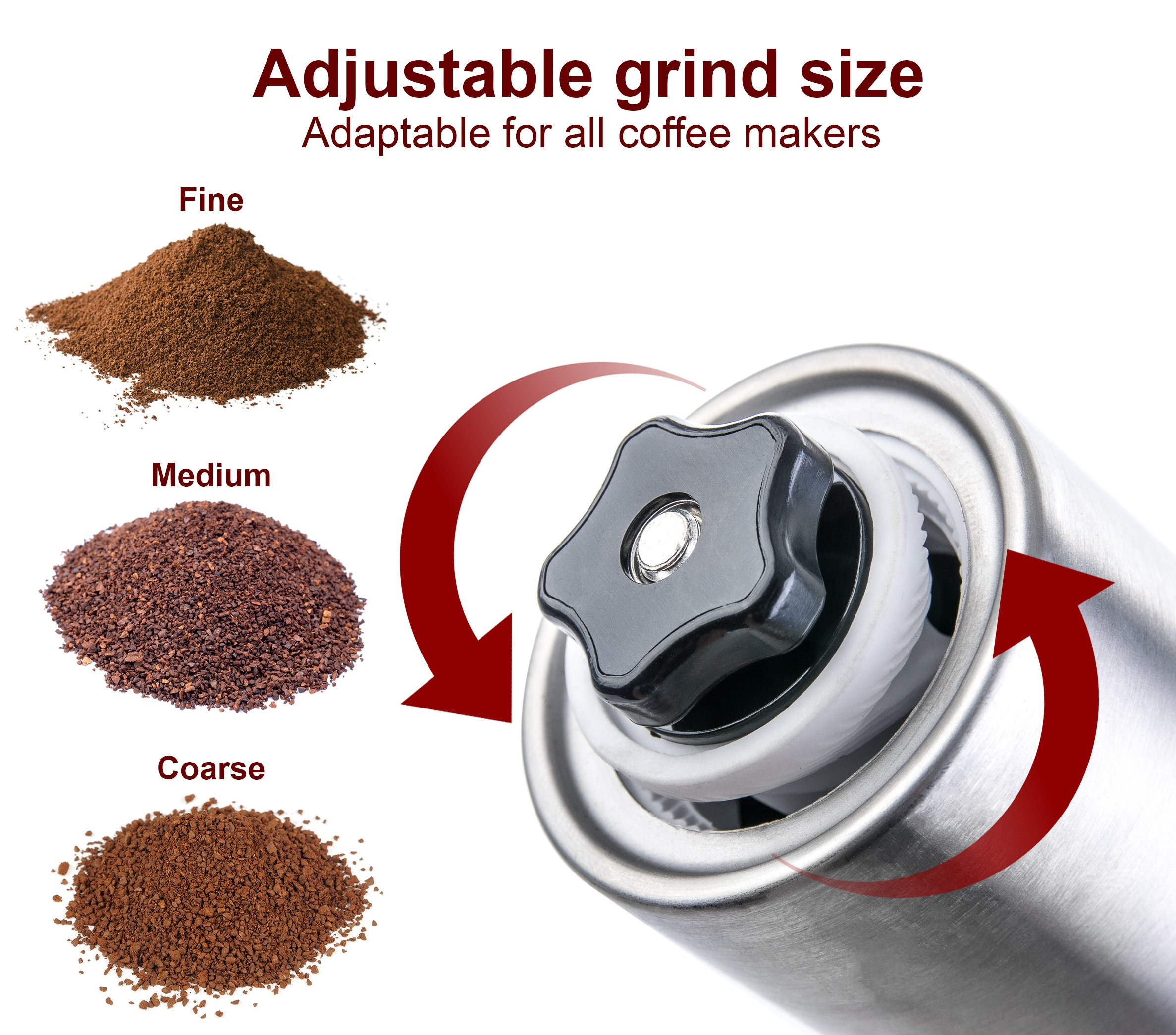 Henry-Charles-Manual-Coffee-Grinder-Stainless-Steel-with-Adjustable-Ceramic-Conical-Burr-Hand-Crank-Mill-Compact-Size-Perfect-for-Your-Home-Office-or-Travelling