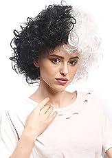Wig me up - 91344-P103-P68 Perücke Damen Karneval Halloween stark gelockt Afro Mop Volumen Halb Schwarz Weiß Frankenstein Zweifarbig