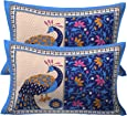 RajasthaniKart Cotton 144TC Pillow Cover (Standard_Blue)