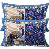 RajasthaniKart Cotton 144TC Pillow Cover (Standard_Blue)