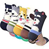 5 Pairs Womens Socks Cat Dog Funny Cotton Sock for Ladies