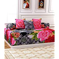 KIHOME Poly Cotton Diwan Set 6 Pieces, 2 Bolster Covers and 3 Cushion Covers (Gulabi)