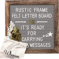 Rustic Wood Frame Gray Felt Letter Board 10x10 inches. Precut White & Gold Letters, Script Cursive Words, Letter Bags, Trimming Scissors, Rustic Wood Stand. Grey Felt Message Board. by whoaon