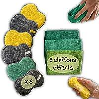 Lot 6 éponges lavables en Microfibres antibactériennes + 3 Chiffons Microfibre réutilisable Offerts! Tampons à récurer…
