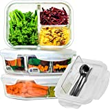 Home Planet Boîte Repas Verre | 3 Compartiments avec Couverts | Lot de 3 1050 ML | 97% d'emballages en plastique enlevés | Lu
