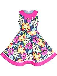 012952aa58bb09 Sunboree Mädchen Kleid Blumen Bunt Trägerkleid Baumwolle Beiläufig Gr. 110  146