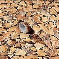 CVANU® Self Adhesive Wood Grain Wallpaper Waterproof Old Furniture Vinyl Stickers Wooden Door Wardrobe Wall Papers Cv032 12''x24''inch