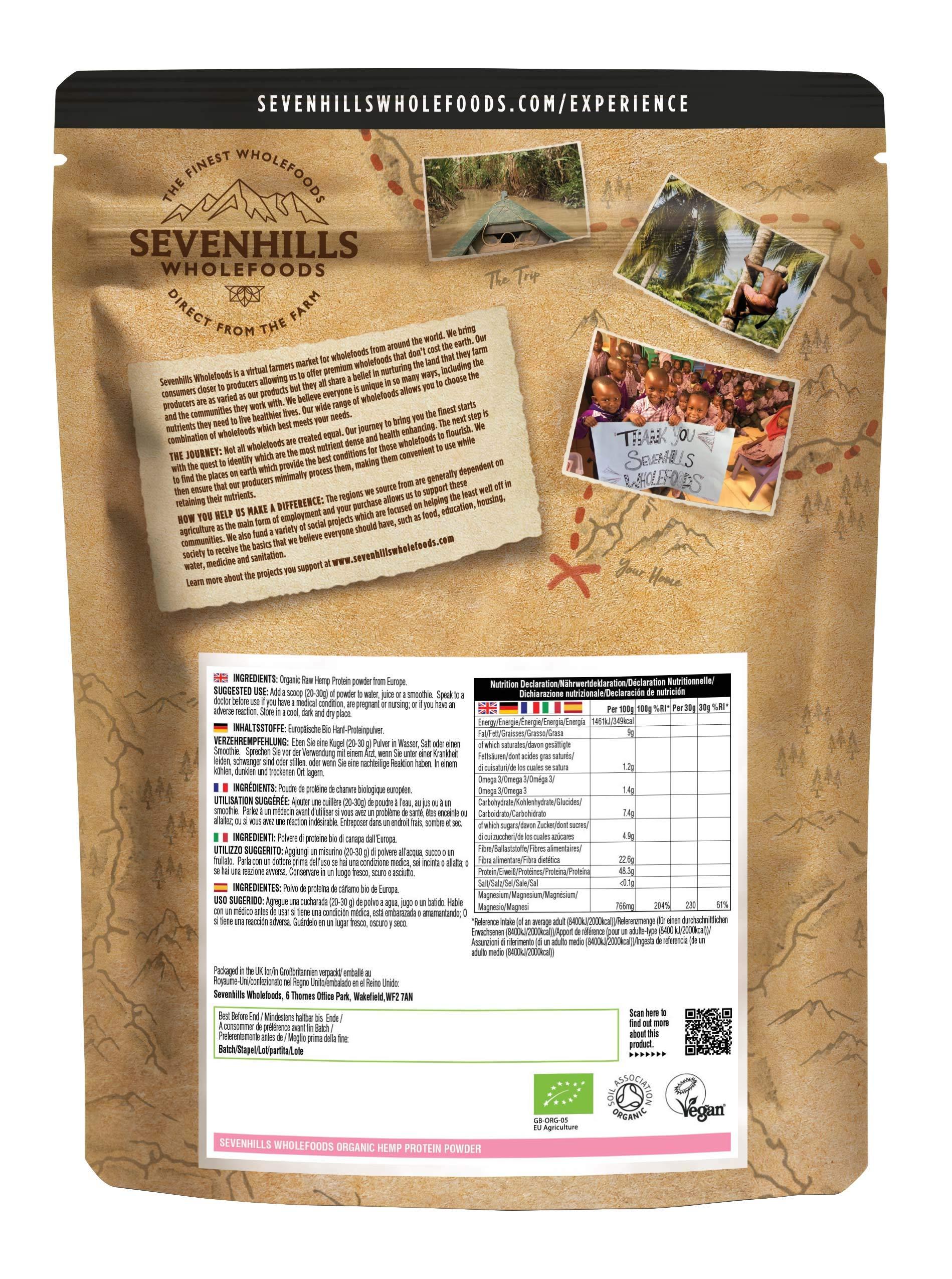 Sevenhills Wholefoods Organic Raw Hemp Protein Powder 500g