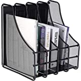DAHSHA 4 Compartment Vertical Sorter File Desk Organiser Book Organizer Document Holder Metal Tray for Office and Home…