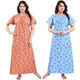 Fabme Women's Printed Cotton Long Nighty (Pack of 2)