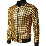 JOGAL Men's Metallic Sequins Gold Bomber Jacket 70s Disco Party Costume