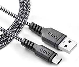 Mivi Nylon Braided Type C To USB A Tough Cable For Type C Devices (Black, 1 meter)