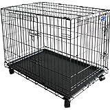 Simply Maison | Hundekäfig | Transportbox | Drahtkäfig mit 1 Oder 2 Türen | Tragegriffen | mit Oder Ohne Rollen | (Größe S - M - L - XL mit Rollen verfügbar) | Folding Metall W/Tablett