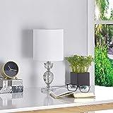 LeeZM White Bedside Table Lamp For Living Room, Bedroom, Childrens Room Minimalist Crystal Ball Bedside Lamp Night Light, Mod