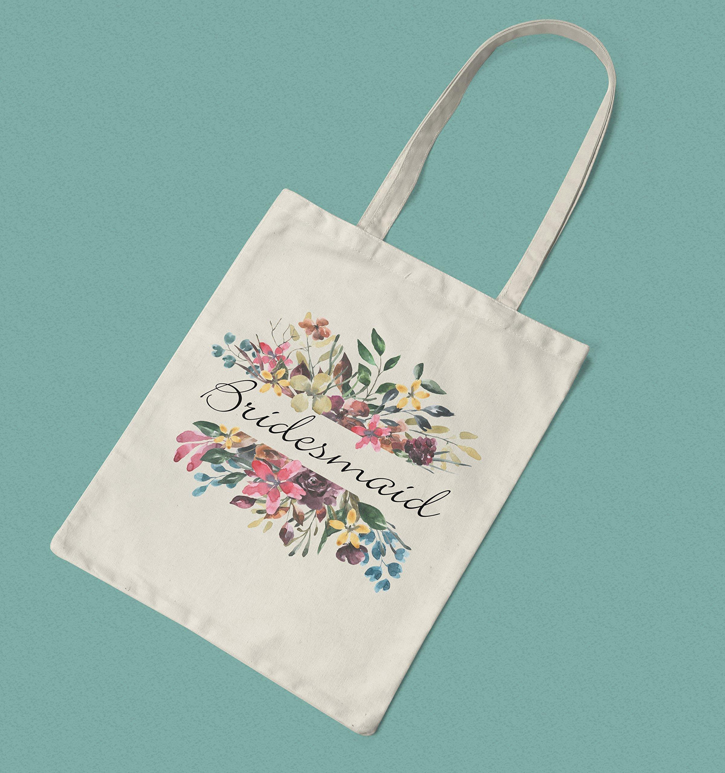 Bridesmaid Gift - Floral Bridesmaid Cotton Tote Bag - handmade-bags