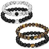 Jstyle Bijoux 4 Pcs(2 Paires) Bracelet Couples Perles d'Énergie Onyx Noir Mat Pierre Oeil de Tigre Unisexe Bracelets pour Les