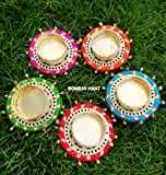 Bombay Haat Set of 5 Vibrant and Colorful Tealight Candle Holder/Diwali Diya Set for Home Decor/Diwali Gift/Diwali…