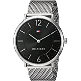 Tommy Hilfiger Men's Black Dial Stainless Steel Band Watch - 1710355