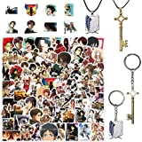 Stickers 100 PCS Attack on Titan Anime Stickers, Attack on Titan Keychain Necklace Set of 4, Unique Cool Graffiti Sticker Dec