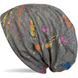 styleBREAKER Beanie mössa med Splat Style färgklick mönster i begagnad look vintage design, slouch longbeanie, unisex 0402411