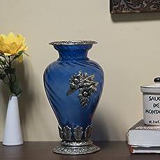 Homesake Flower Pot Large with Antique Grapevine Brooch, Royal Blue