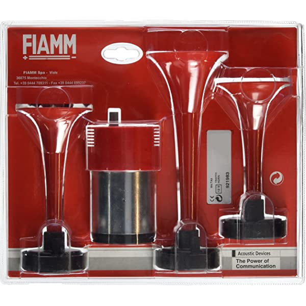 FIAMM 921985 Twin Trumpet Air Horns in Chrome Complete with Compressor