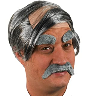 Brown Curly Mens Fancy Dress Wig /& Droop Moustache /& Eyebrows Short Cut