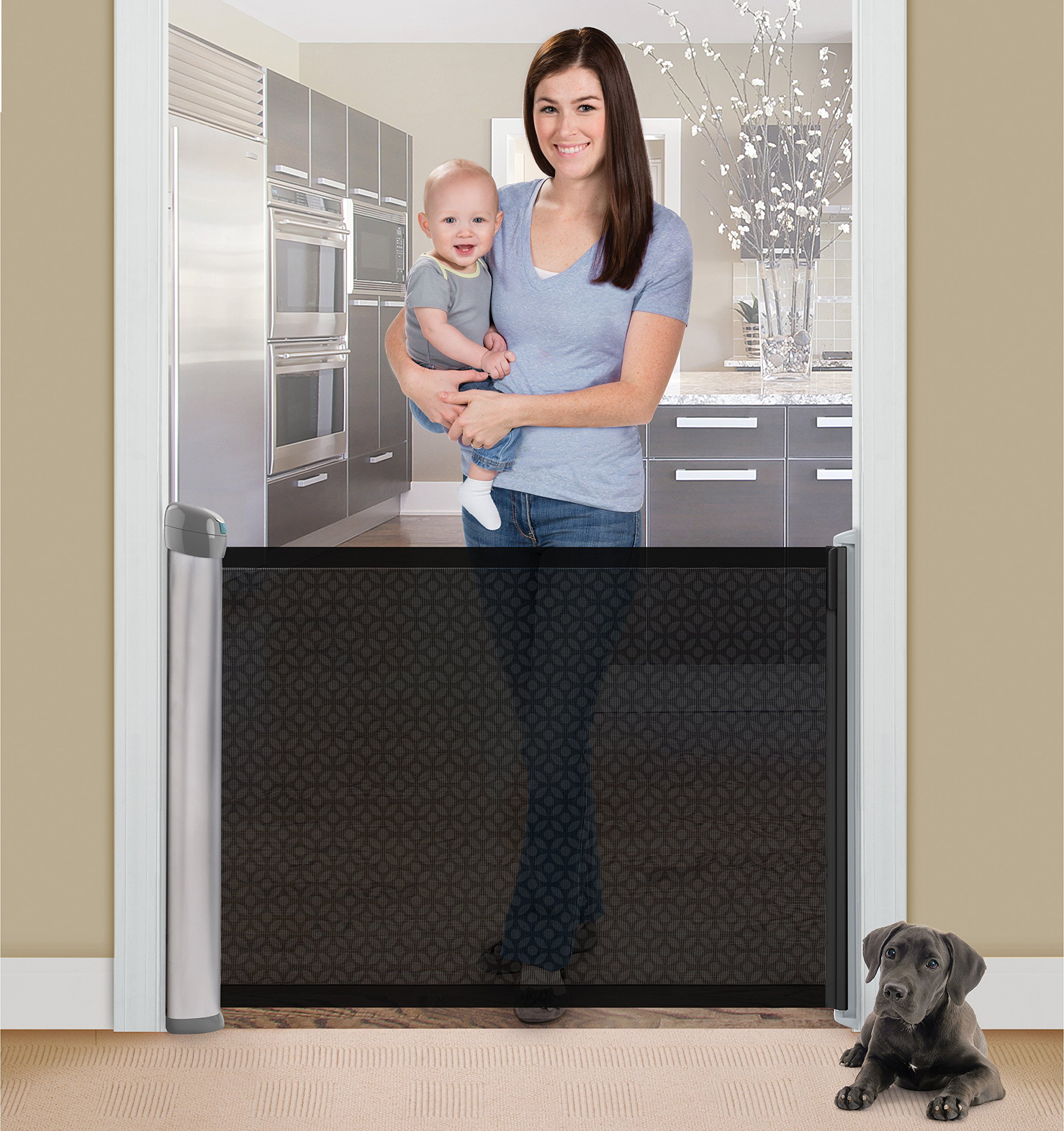 Summer Infant Retractable Gate  Hardware mounted for added security and use at top of stairs or between rooms (hardware included) 76 cm tall and fits openings up to 127 cm Simple locking mechanism, push down to lock and pull up to unlock 2