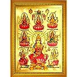 ADA Handicraft Premium Hindu Lord Goddess Ashta Lakshmi God Religious Framed Painting for Wall and Pooja/Hindu Bhagwan Devi D