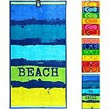 jilda-tex Strandtuch 90x180 cm Badetuch Strandlaken Handtuch 100% Baumwolle Velours Frottier Pflegeleicht (Painted Beach)