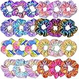 24 Pieces Capelli Scrunchies, 8 Colori Elastici per Capelli Colore Metallico Sfumato Scrunchies Elastico Lucidi Metallici Acc