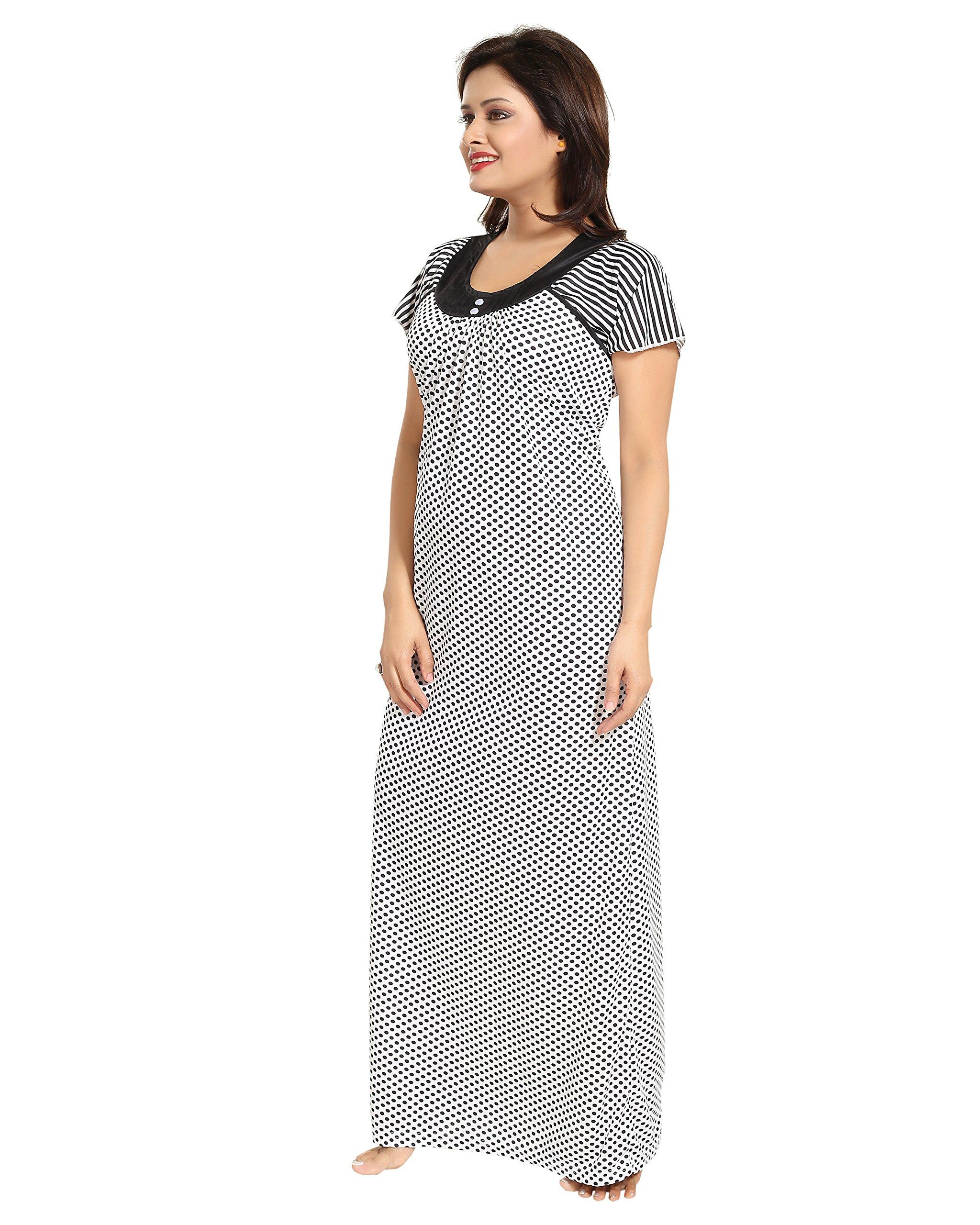 bf83f54c9 TUCUTE Womens Dott s Print Nighty Night Gown Night Dress (Free Size ...