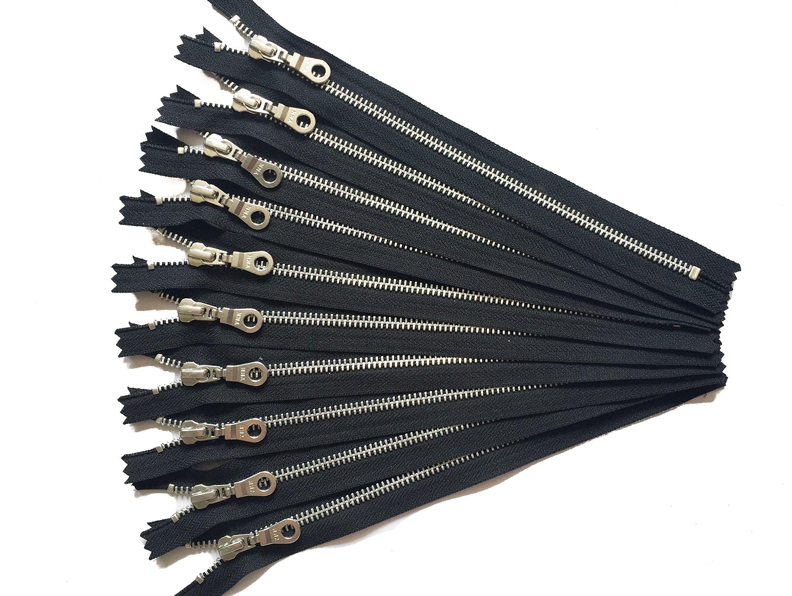 YKK fermetures métalliques en aluminium avec Donut Pull 25,4cm Numéro 5en noir Argent dents Lot de 10pièces par Craftbot