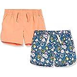 Amazon Essentials - Pack de 2 pantalones cortos tejidos con cintura elástica para niña