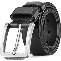 Tolumo Men's Belt Pin Buckle Full Grain Leather Belts Great for Casual Jeans Work Wear
