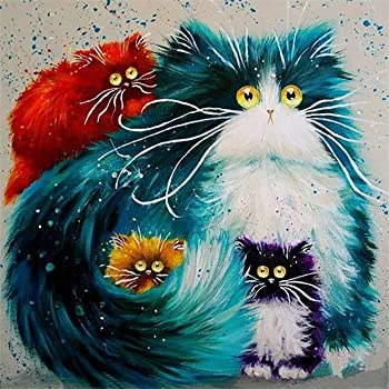 * Paint by Number Kit,DIY Oil Painting Drawing Reflection Cat Colourful Canvas