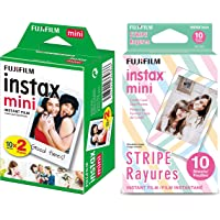 Fujifilm Instax Mini Picture Format Film (20 Shots) and Fujifilm Instax Mini Stripe Film (Multicolor, Pack of 10)