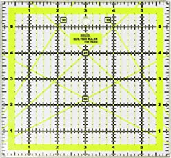 Imperial Design Template Quilting Ruler, Acrylic, Transparent, 6 x 6 inch with Metal Edges