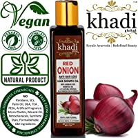 Khadi Global Red Onion Hair Oil for Hair Growth with Argan, Jojoba, Rosemary, Black Seed Oil in Purest Form Very...
