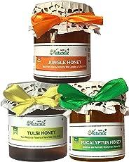 Farm Naturelle-Raw Natural Unprocessed Tulsi Forest Flower Honey & Jungle Flower Forest Honey & Eucalyptus Flower Honey (250 Gms x 3) (Ayurved Recommended)-Huge Medicinal Value